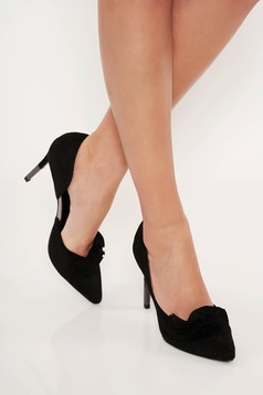Pantofi Top Secret negru elegant cu volanase din material catifelat cu varful usor ascutit