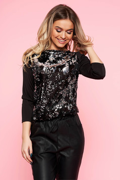 Bluza dama Top Secret neagra eleganta cu maneca 3/4 cu croi larg cu aplicatii cu paiete