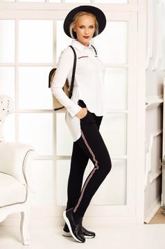 Camasa dama Fofy alba casual asimetrica cu croi larg din bumbac usor elastic cu guler ascutit