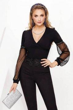 Camasa dama Fofy neagra eleganta cu un croi mulat din bumbac usor elastic cu decolteu in v