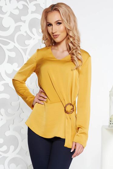 Bluza dama StarShinerS mustarie eleganta cu croi larg din material satinat cu maneci lungi