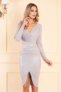 Silver occasional dress slightly elastic fabric with metallic aspect with inside lining with v-neckline