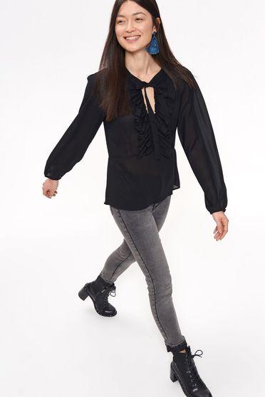 Bluza dama Top Secret neagra casual cu croi larg din material usor transparent cu volanase