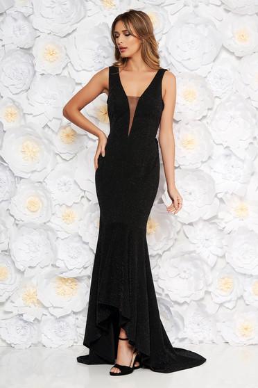 Rochie Artista neagra de ocazie din material usor elastic cu fir lame cu bust buretat si volanase la baza rochiei