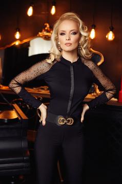 Camasa dama Fofy neagra eleganta cu un croi mulat din bumbac cu aplicatii de tul