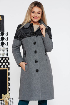 LaDonna elegant grey arched cut embroidered wool coat with inside lining with pockets