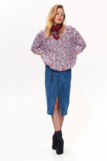 Pulover Top Secret mov casual cu croi larg din material tricotat cu maneci trei-sferturi