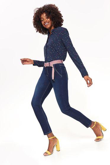 Blugi Top Secret albastri skinny cu talie medie din bumbac usor elastic cu accesoriu tip curea cu buzunare