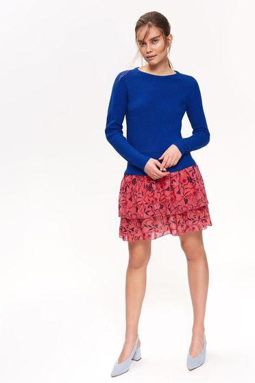 Pulover Top Secret albastru casual mulat din material tricotat cu maneci lungi