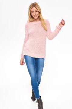 Pulover Top Secret roz casual cu croi larg din material pufos cu maneci lungi