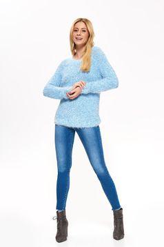 Pulover Top Secret albastru casual cu croi larg din material moale cu maneca lunga
