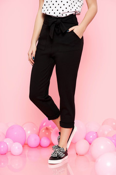 Pantaloni Top Secret negri casual cu talie inalta din material usor elastic accesorizati cu cordon cu buzunare