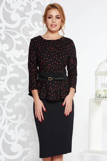 Rochie neagra eleganta tip creion cu peplum din stofa usor elastica cu accesoriu tip curea
