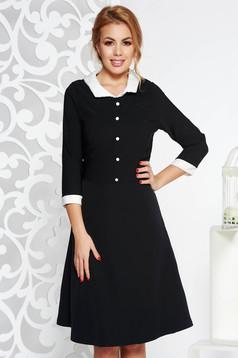 Rochie neagra office midi in clos din stofa subtire usor elastica cu guler