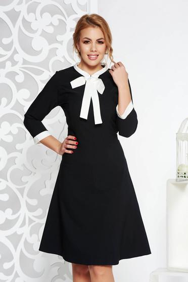 Rochie neagra office midi din stofa elastica subtire cu guler