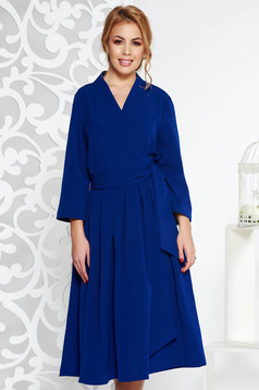 Rochie albastra eleganta midi in clos din bumbac neelastic cu decolteu in v