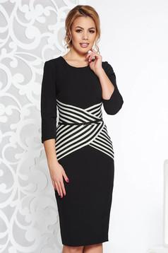 Rochie neagra StarShinerS eleganta tip creion din stofa usor elastica cu accesoriu tip curea