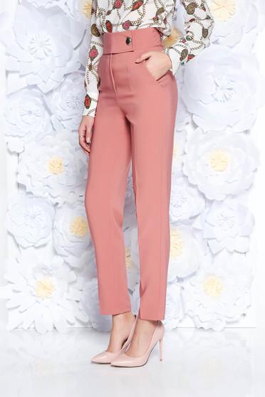 Pantaloni PrettyGirl corai office conici cu talie inalta din stofa usor elastica cu buzunare