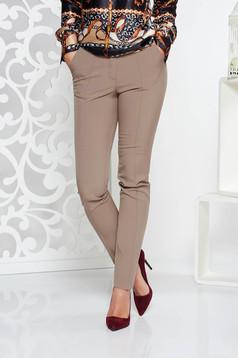 Pantaloni StarShinerS crem office conici cu talie medie din stofa usor elastica cu buzunare