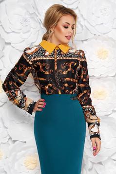 Bluza dama PrettyGirl neagra eleganta cu croi larg cu maneca lunga din material satinat