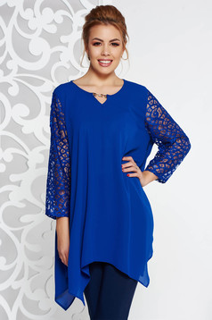 Bluza dama albastra eleganta asimetrica cu croi larg din voal cu maneci din dantela