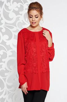 Bluza dama rosie eleganta din voal cu croi larg suprapunere cu dantela
