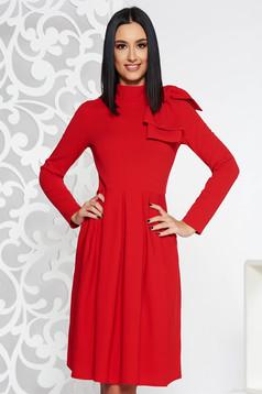 Red elegant cloche dress slightly elastic fabric bow accessory