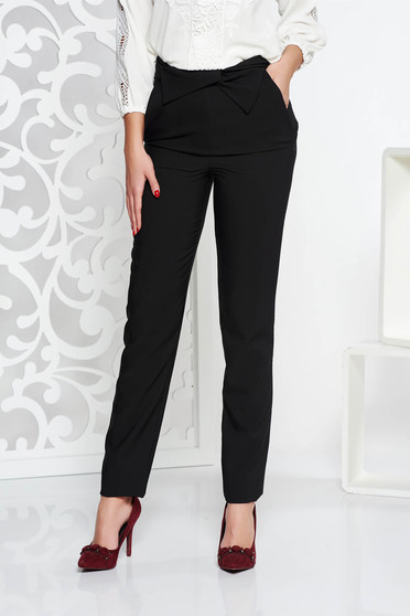 Pantaloni LaDonna negri office cu talie inalta din stofa usor elastica cu buzunare