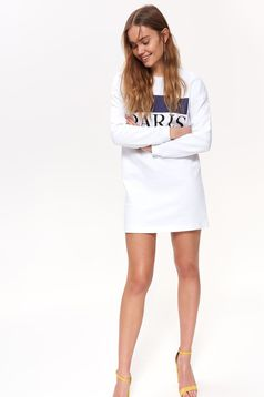 Top Secret white casual women`s blouse long sleeve with straight cut cotton