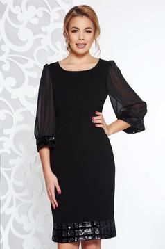 Rochie neagra de ocazie din stofa neelastica maneci transparente cu aplicatii cu paiete