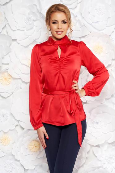 Bluza dama StarShinerS rosie cu croi larg din material satinat accesorizata cu cordon