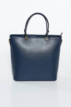 Geanta dama albastru-inchis office din piele naturala cu maner lung reglabil