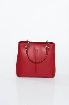 Burgundy office bag natural leather with metal accessories