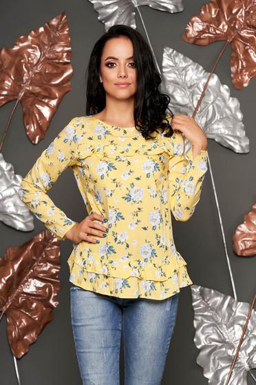 Bluza dama Top Secret galbena casual cu croi larg cu volanase din material vaporos cu imprimeu floral