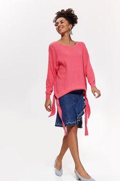 Pulover Top Secret roz casual cu croi larg din material tricotat