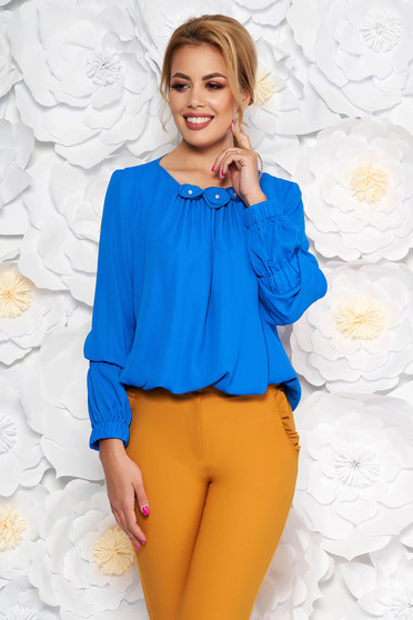Bluza dama LaDonna albastra office cu croi larg din voal captusita pe interior cu aplicatii florale