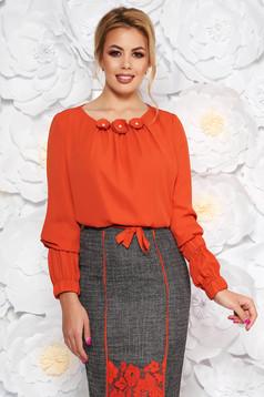 Bluza dama LaDonna caramizie office cu croi larg din voal captusita pe interior cu aplicatii florale