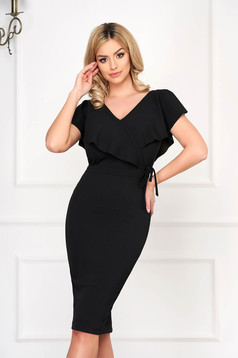 StarShinerS black elegant pencil dress from elastic fabric with v-neckline
