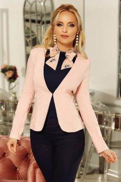 Sacou Fofy rosa office cambrat din stofa usor elastica captusit pe interior