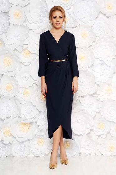 Rochie albastru-inchis eleganta din stofa subtire usor elastica captusita pe interior cu accesoriu tip curea