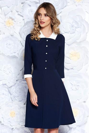 Rochie albastra-inchis office midi in clos din stofa subtire usor elastica captusita pe interior cu guler