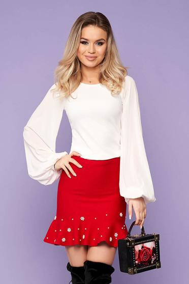 Bluza dama StarShinerS ivorie eleganta cu un croi mulat din material usor elastic cu maneci din voal