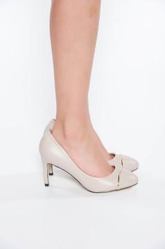 Pantofi gri elegant din piele ecologica cu toc inalt