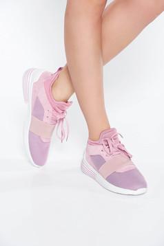 Pantofi sport roz casual cu talpa joasa cu siret