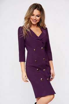 Artista purple elegant blazer type dress slightly elastic fabric wrap around with button accessories