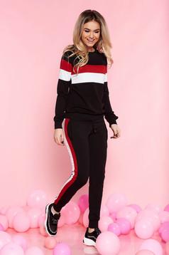 Set SunShine negru casual cu pantaloni din bumbac usor elastic cu buzunare