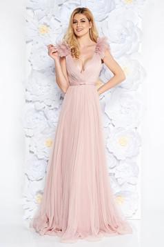 Rochie Ana Radu roz deschis de lux cu decolteu adanc din tul captusita pe interior cu bust buretat