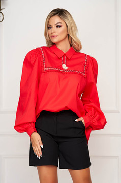 LaDonna red casual flared women`s blouse nonelastic cotton with tassels