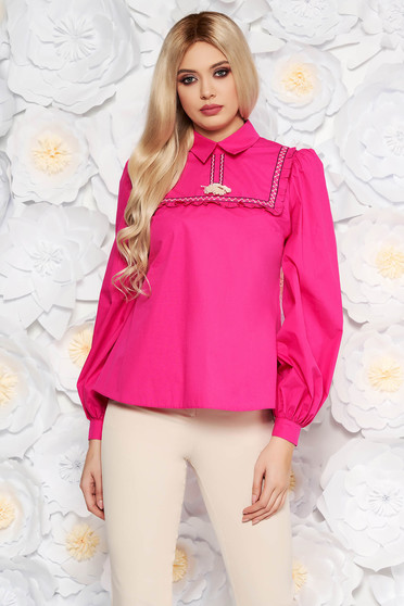 Bluza dama LaDonna fuchsia casual cu croi larg din bumbac neelastic cu ciucuri