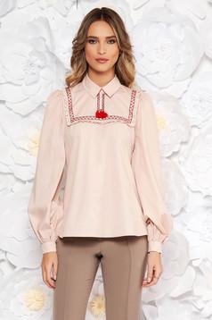 Bluza dama LaDonna crem casual cu croi larg din bumbac neelastic cu ciucuri
